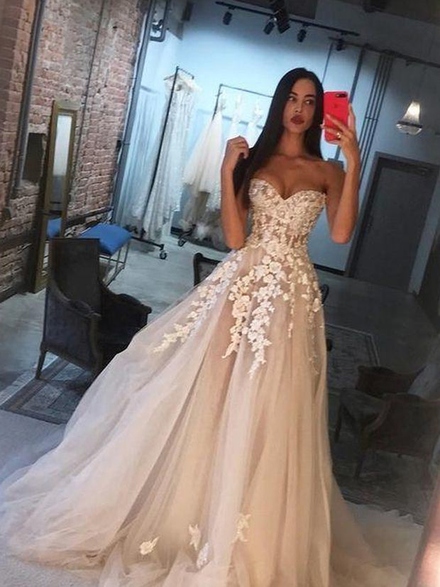 Sweetheart Tulle Applique Blush Pink Wedding Dress, Long Prom Dress