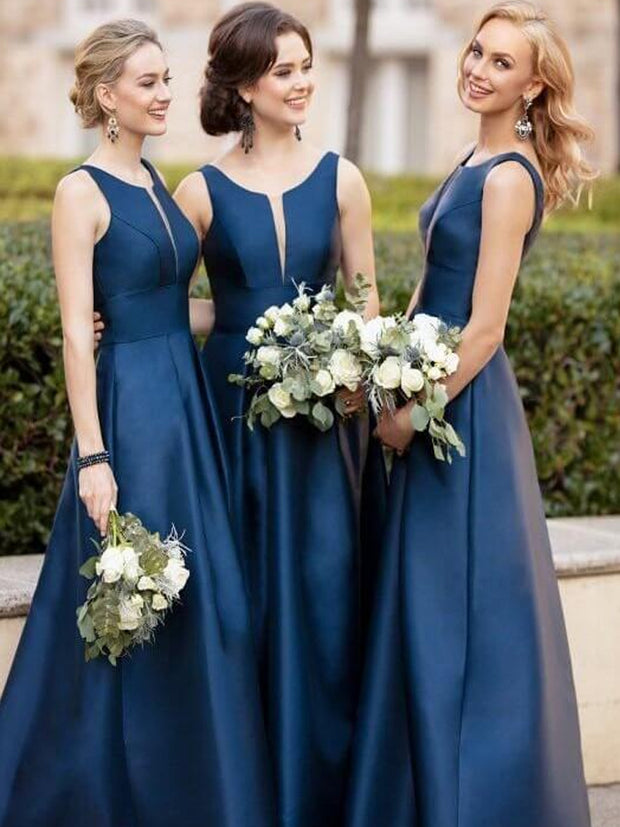 Illusion Cut Sleeveless Dark Blue Bridesmaid Dresses Satin Skirt