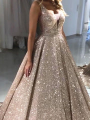 Luxurious Sequin V-neck Ball Gowns Prom Dresses 2019 - onlybridals