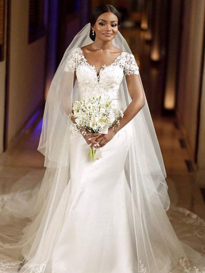Mermaid Wedding Dresses With Oveskirt V Neck Short Sleeve Sweep Train Appliques Garden Bridal Gowns