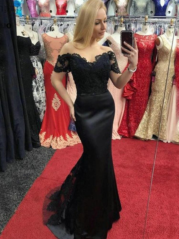 Dark Navy Mermaid Prom Dresses Off Shoulder Sweep Train Appliques Long Formal Women Wedding Evening Party Gowns