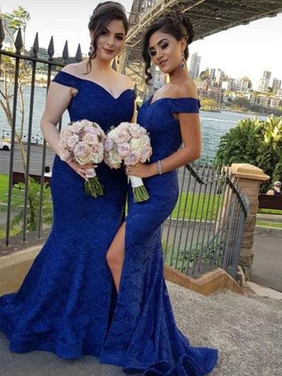 Royal Blue Mermaid Bridesmaid Dresses Off Shoulder Side Split Sweep Train Lace Garden Country Wedding Guest Gowns