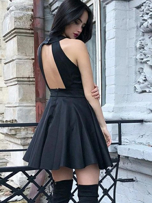 Black Cocktail Party Dresses Jewel Hollow Back Short Lace Girls Prom Homecoming Dress Plus Size Cheap
