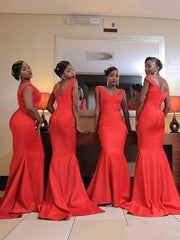 Orange Mermaid Bridesmaid Dresses V Neck Backless Sweep Train Bow Country Wedding Guest Gowns Maid of Honor Dress Cheap