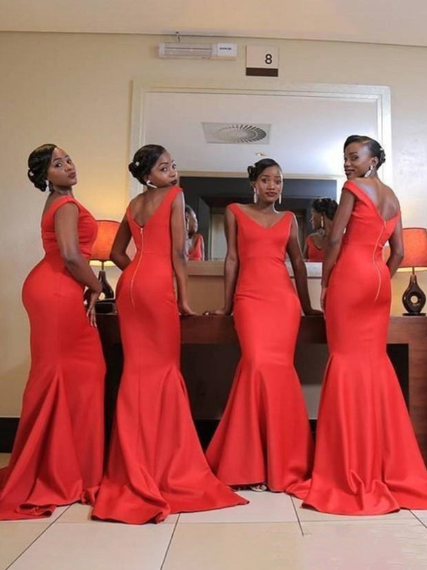 Orange Mermaid Bridesmaid Dresses V Neck Backless Sweep Train Bow Country Wedding Guest Gowns Maid of Honor Dress Cheap - onlybridals