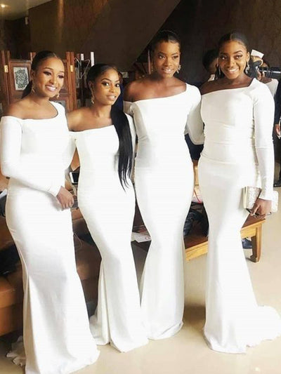 White Mermaid Bridesmaid Dresses One Shoulder Long Sleeve Soft Satin Garden Country Wedding Guest Gowns Maid of Honor