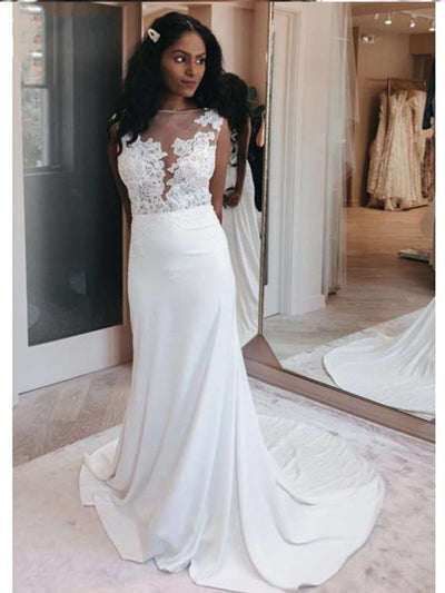 Beach Mermaid Wedding Dresses 2020 Bateau Backless Illusion Bodice Appliques Garden Country Bridal Gowns for Bride Customized