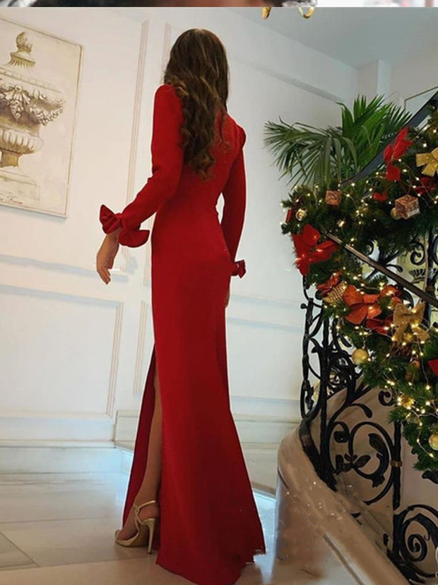 Red Mermaid Evening Dresses V Neck Long Sleeve Side Split Ruffles Formal Women Prom Party Gowns suknie wieczorowe - onlybridals
