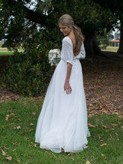 Backless Half Sleeve Sweep Train Beads Sequined Garden Country Beach Bridal Gowns wedding dress