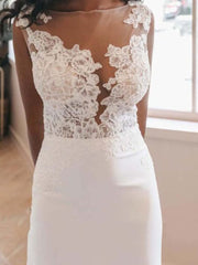 Beach Mermaid Wedding Dresses 2020 Bateau Backless Illusion Bodice Appliques
