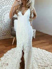 Affordable Delicate Ivory Lace Mermaid Open Back Bridal Wedding Dresses V Neckline Wedding Gowns for Bride Sexy Front Split
