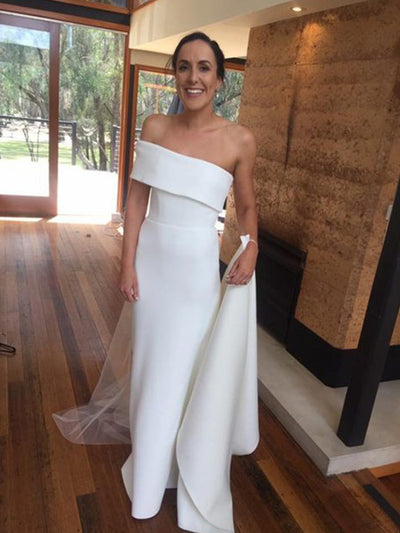 Simple Mermaid Wedding Dresses One Shoulder Sweep Train Satin Garden Country Beach Bridal Gowns robes de mariée Customized Cheap