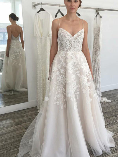 A-line Ivory Spaghetti Straps Backless Tulle Beach Wedding Dress with Lace