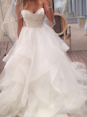 A Line Ivory Sweetheart Strapless Layered Tulle Long Beach Wedding Dress