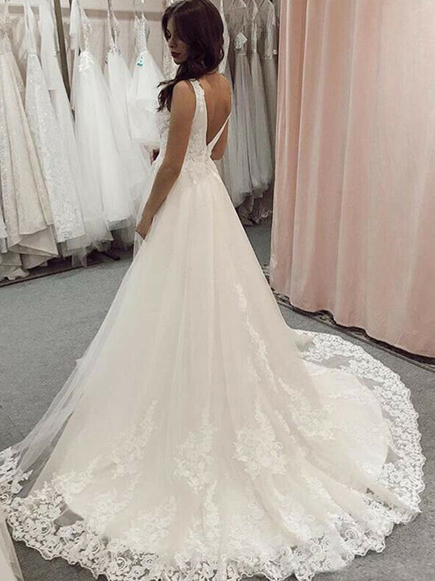 A-line dress sleeveles v-neck lace applique bridal gown bespoke