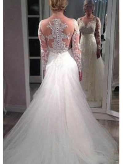 White Tulle Wedding Dresses Mermaid Long Sleeve Appliques Bridal Gown Custom