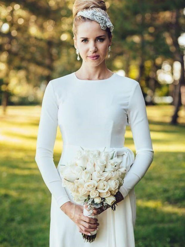 Simple Ivory Mermaid Wedding Dresses Long Sleeve Floor Length Muslim Garden Country Beach Bridal Gowns Wedding Gowns