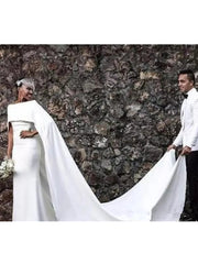 Mermaid Wedding Dresses with Cape Zipper Back Black Girl Bridal Gowns Wedding Gown