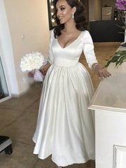 Vintage A-line Tea-length Wedding Dresses Long Sleeve V-neck Simple Stain Backless Bride Wedding Gown