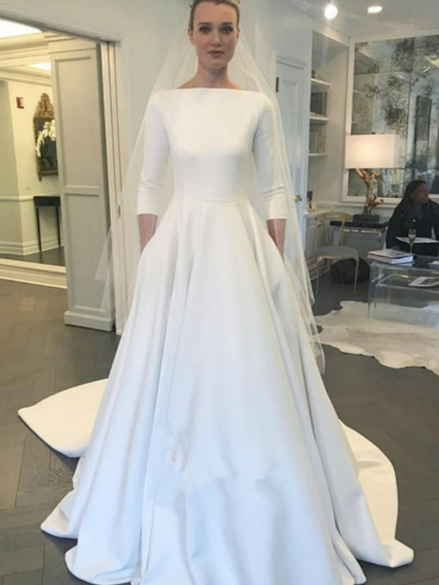 A Line 2020 Wedding Dresses With Three Quarter Sleeve New Meghan Markle Style Vintage Bateau Covered Buttons Back Simple Bridal