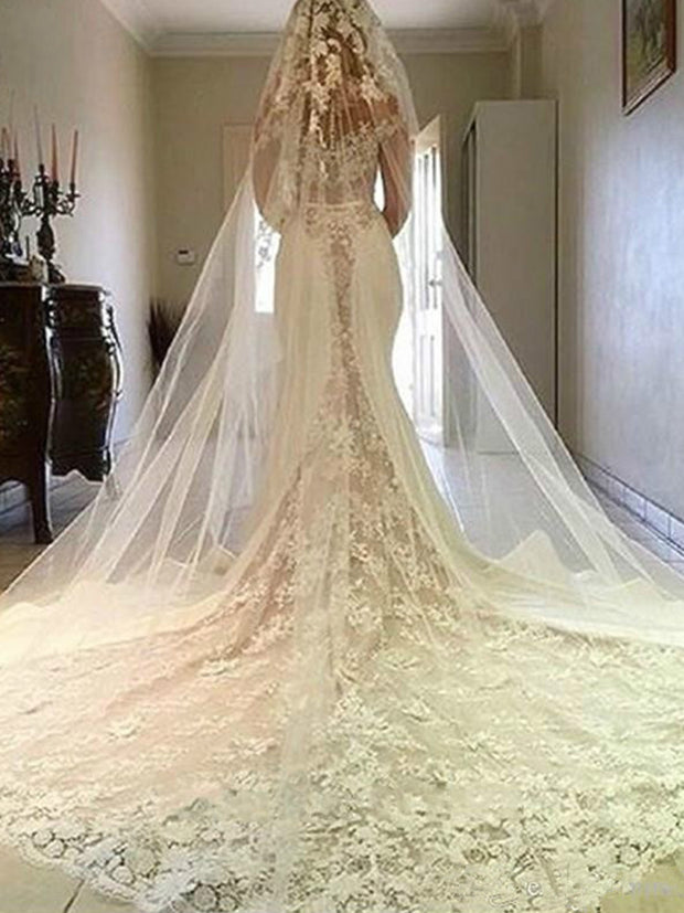 2020 New Elegant Illusion Lace Mermaid Wedding Dresses Sheer Long Sleeves Chapel Train Wedding Dress Bridal Gowns with Buttons