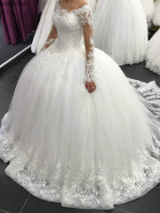 2020 Elegant Long Sleeve Wedding Dresses Lace Ball Gown Tulle Princess Lebanon Wedding Gowns Plus Size Robe
