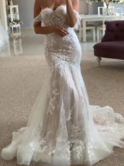 New Mermaid Wedding Dresses Lace Appliques Off The Shoulder Wedding Gowns Custom Made Princess Party Bridal Gown