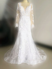 2021 New Illusion Long Sleeve Mermaid Wedding Dresses Pearls Beads Lace Sheer Neck See Through Bridal Gown Custom Made