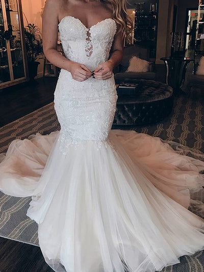 Charming Sweetheart Lace Mermaid Wedding Dresses Sleeveless Backless Appliques Tulle Sweep Train Bridal Gowns Custom Mad