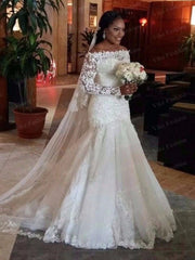 African New 2020 mermaid Wedding Dress Long Sleeve Emboridry with Beading Court Train White Color Vintage Wedding Gown
