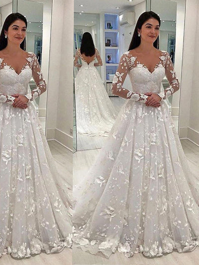 Boho Floral Lace Sexy V Neck Tulle Cheap White Wedding Dress Long Sleeve Beach Bridal Gown Bohemian Wedding Gown