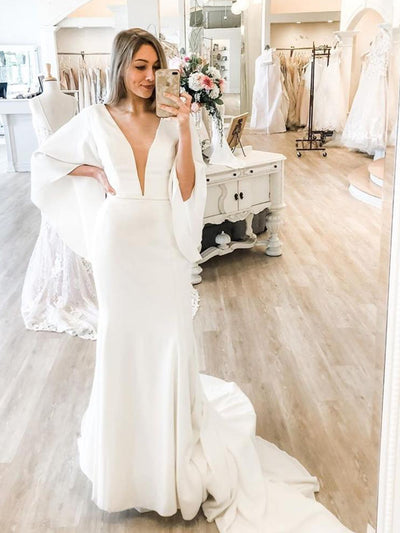 Mermaid Wedding Dress 2021 V-Neck Sexy Satin Flare Sleeve White sweep Train Floor Length Elegant Bridal Gowns For Lady Gorgeous