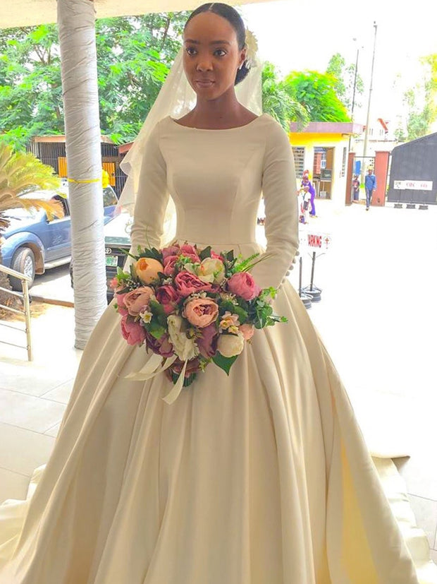 Wedding Dresses With Long Sleeve Satin Gorgeous Scoop Floor Length Bridal Gowns White Ivory 2021 High Quality Long Chapel Train