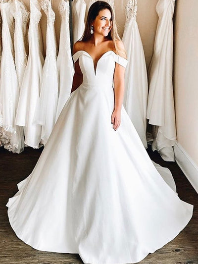 Wedding Dresses 2021 Ball Gowns Simple Satin Cap Sleeve Bridal Gowns Sweetheart White Floor Length Sweep Train Cheap Elegant