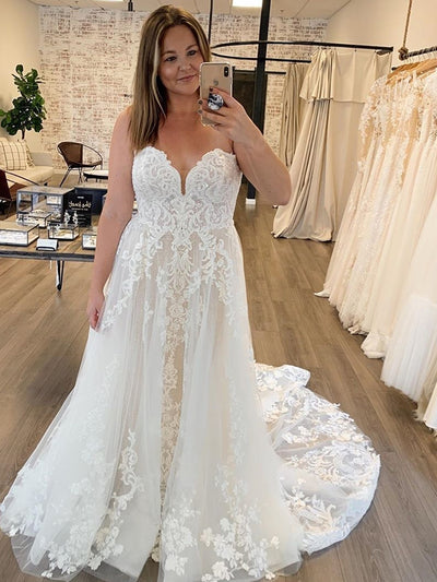 Simple Vintage White Ivory Wedding Dress For Women Lace Light Champagne Sweetheart Floor Length lace Appliques With long Train