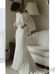 Off The Shoulder Wedding Dress A Line Satin Bride Winter  of Bridal Gown 2020 Plus Size Real Photo
