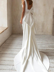 A-Line Wedding Dresses V Neck Court Train Satin Sleeveless Simple with Bow(s) 2020
