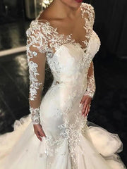 Mermaid / Trumpet Wedding Dresses V Neck Sweep / Brush Train Tulle Long Sleeve Sexy See-Through Backless Illusion Sleeve with Lace Insert 2020