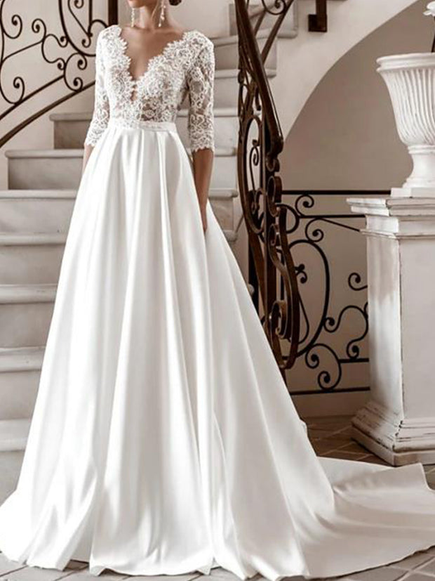 A-Line Wedding Dresses V Neck Sweep / Brush Train Lace Satin Half Sleeve Formal with 2020
