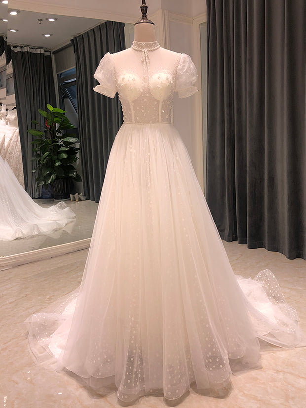 high neck puff sleeve wedding dress 2020 lace pearls simple elegant cheap bridal gown beads wedding gowns for bride
