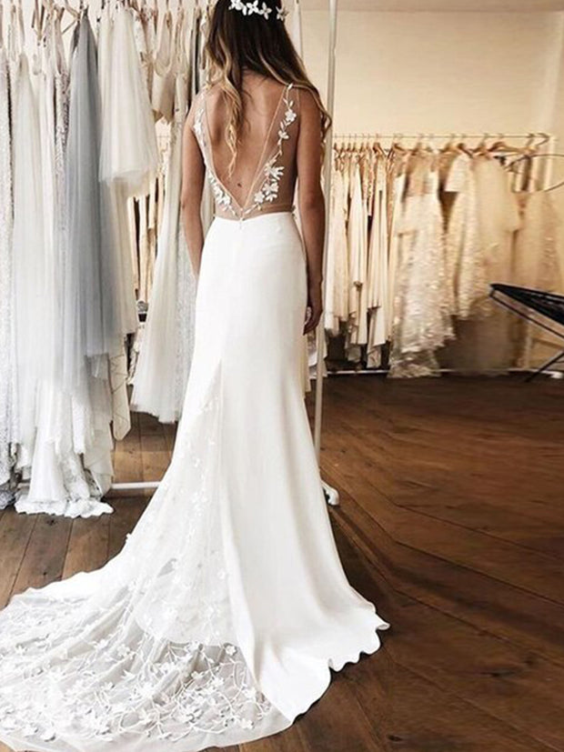 Sexy Sheath White Satin V-neck Backless Appliques Wedding Dress