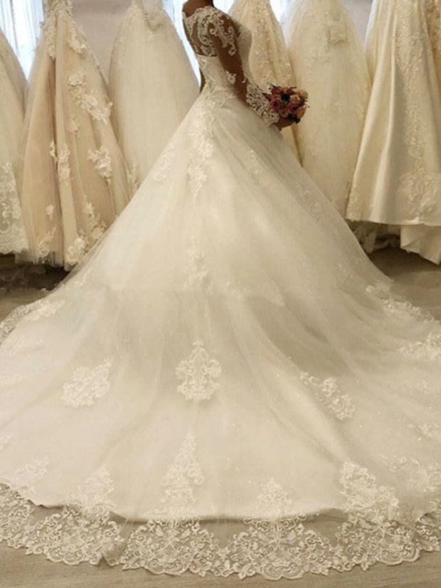 Princess Ball Gown Wedding Dresses With Long Sleeves Illusion Bodice Romantic Robe De Mariée Lace Appliques Wedding Gowns New