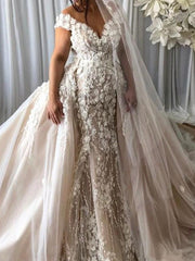 3D Petals Floral Mermaid Wedding Dress Detachable train Glamorous Dubai Bridal Gowns Stylish Tulle Overskirt Wedding Gowns