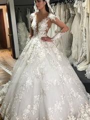Luxury Lace Ball Gown Wedding Dresses Sheer Jewel Neck Long Sleeve Bridal Gowns Floor Length Plus Size Vintage Wedding Dress