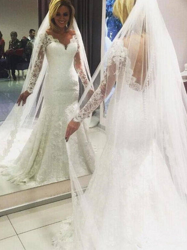 Sexy Plus Size Wedding Dresses 2020 Sheer V-Neck Long Sleeves Tulle Mermaid Court Train Bridal Gowns African Wedding gowns