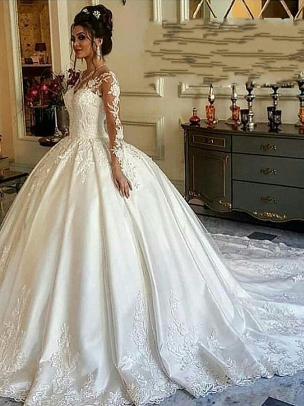luxury Long sleeve Muslim satin wedding dress 2020 Ball gown bridal dress robe mariee Wedding gown court train vestidos de boda