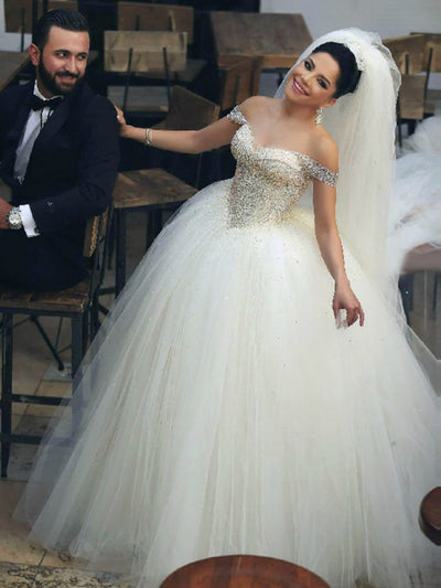 Ball Gown Tulle Off The Shoulder Wedding Dresses Puffy Wedding Dresses