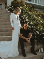 Deep V Neck Mermaid Wedding Dresses 2020 Satin Long Sleeves Front Slit Bridal Gowns Sexy Robe