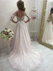 Wedding Dresses 2021 A-Line Blush Pink With Long Sleeve Lace Appliques Sweep Train Sheer Back Charming Bridal Gowns For Brides