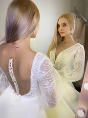 Wedding Dresses 2021 A-Line White Satin V-neck Long Sleeve Sheer Back With Button High Quality Chapel Train Bridal Gowns